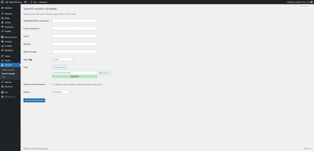 WordPress ruční vytvoření uživatele