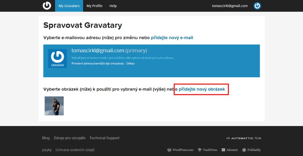 Spravujte Gravatary