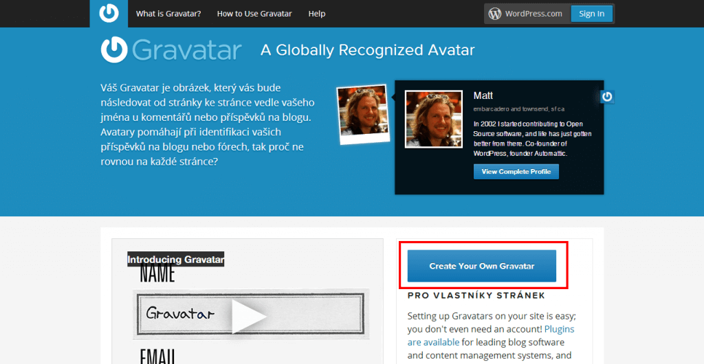 Gravatar - Celosvětově uznávané Avatary