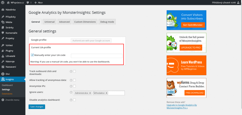 Nastavení Google Analytics by MonsterInsights