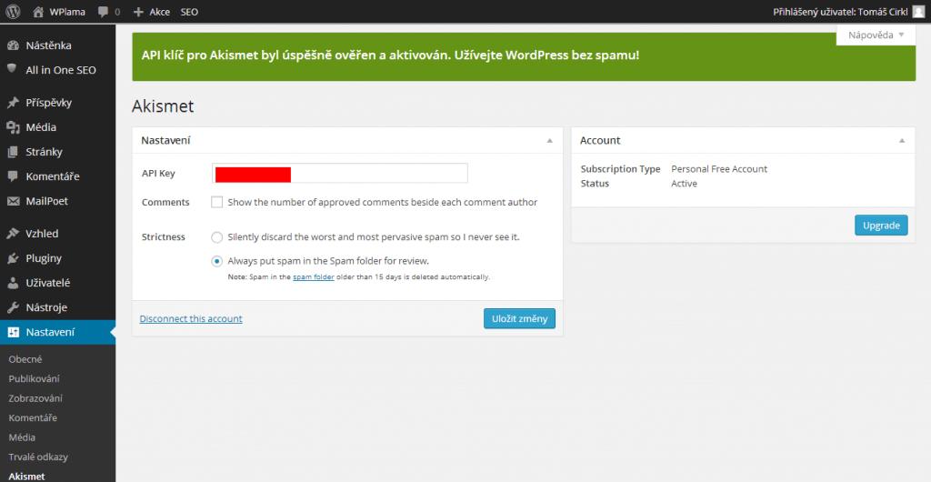 Vyplněný API klíč