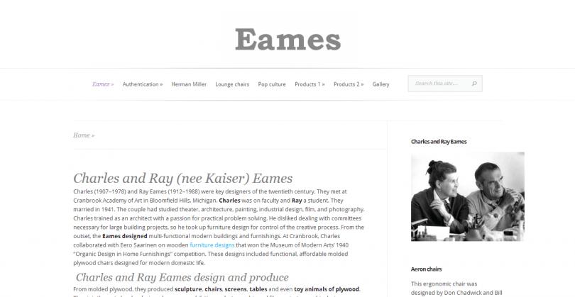 Charles and Ray Eames - informační stránka
