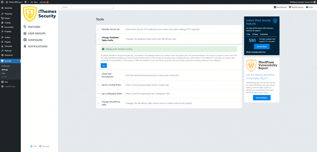 iThemes Security - Změna prefixu databáze