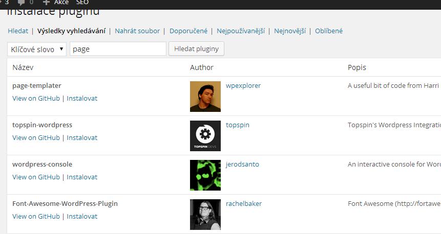 Instalace pluginů GitHub