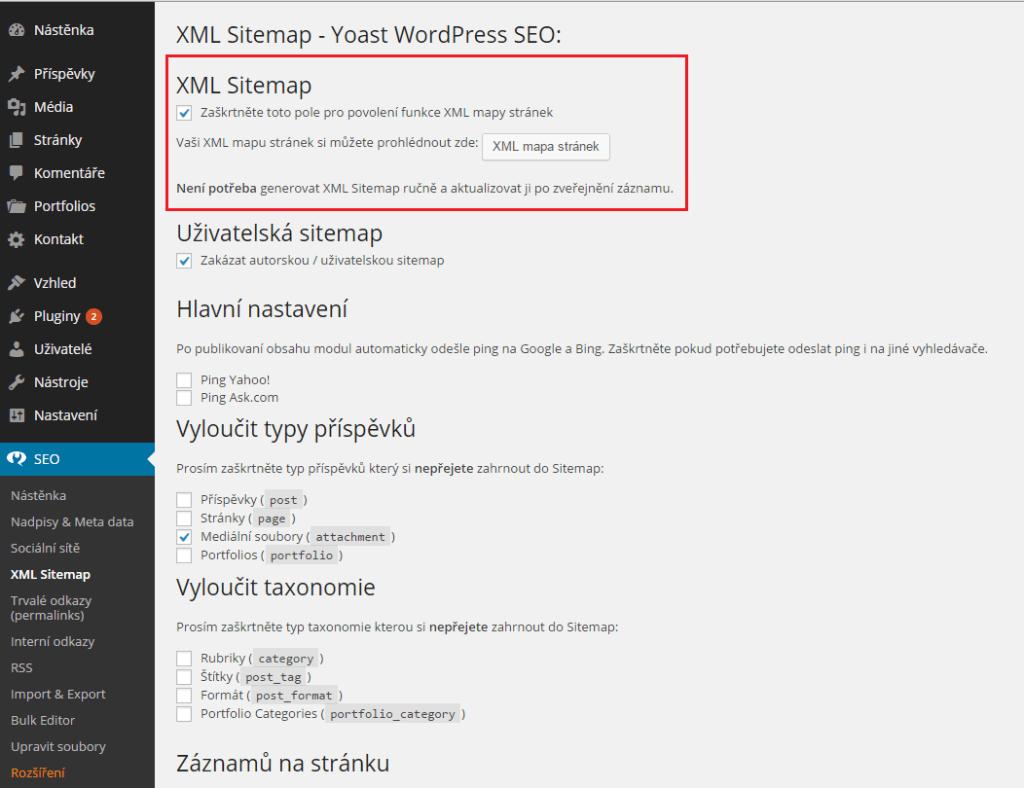 Aktivace XML sitemap u WordPress SEO by Yoast