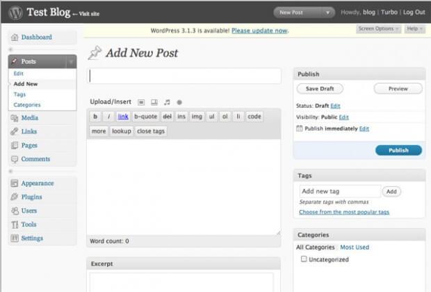 """WordPress 2.7 """"Coltrane"""" - příspěvek"""