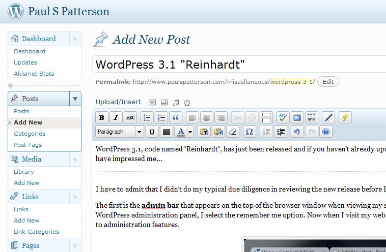 "WordPress 3.1 Reinhardt"""