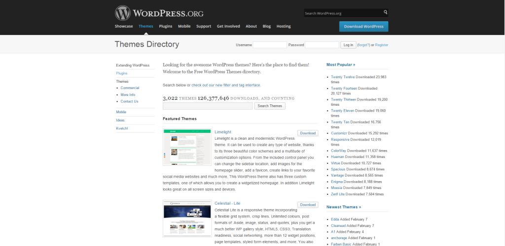 WordPress šablony starý design