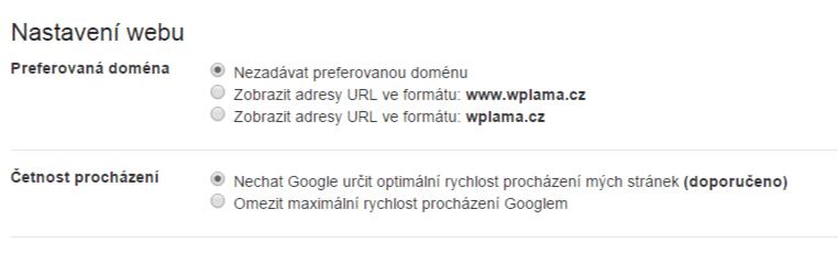 Nastavení webu
