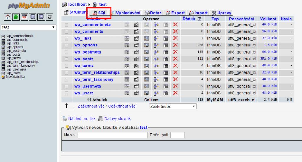 Úprava databáze pomocí SQL dotazu