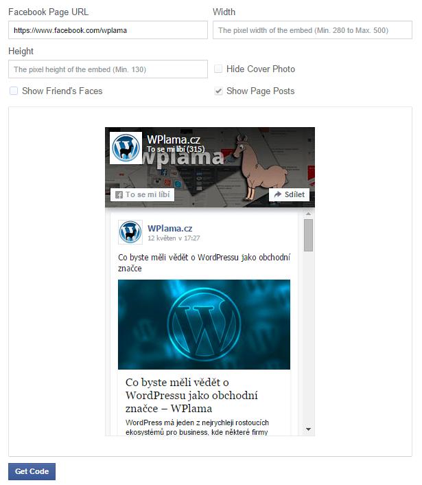 Tvorba Facebook Page Pluginu