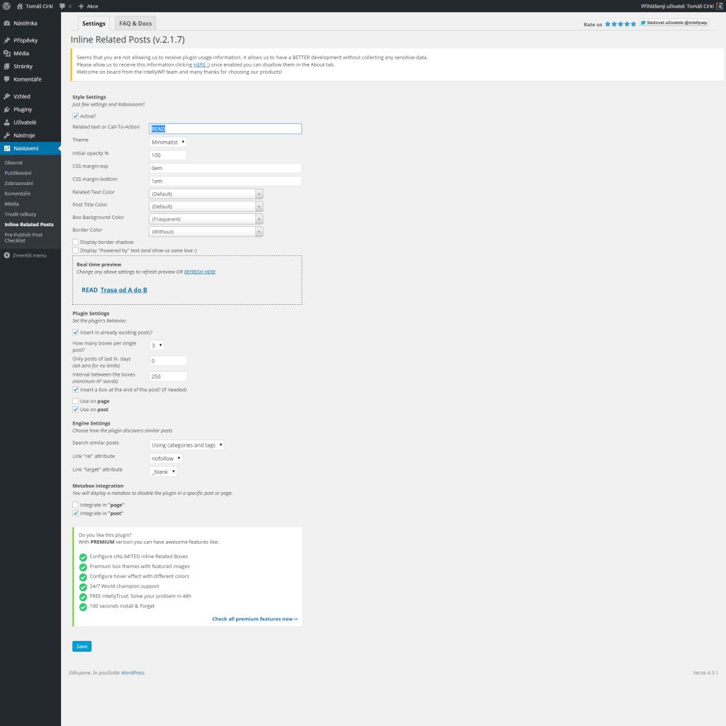 Inline Related Posts nastavení