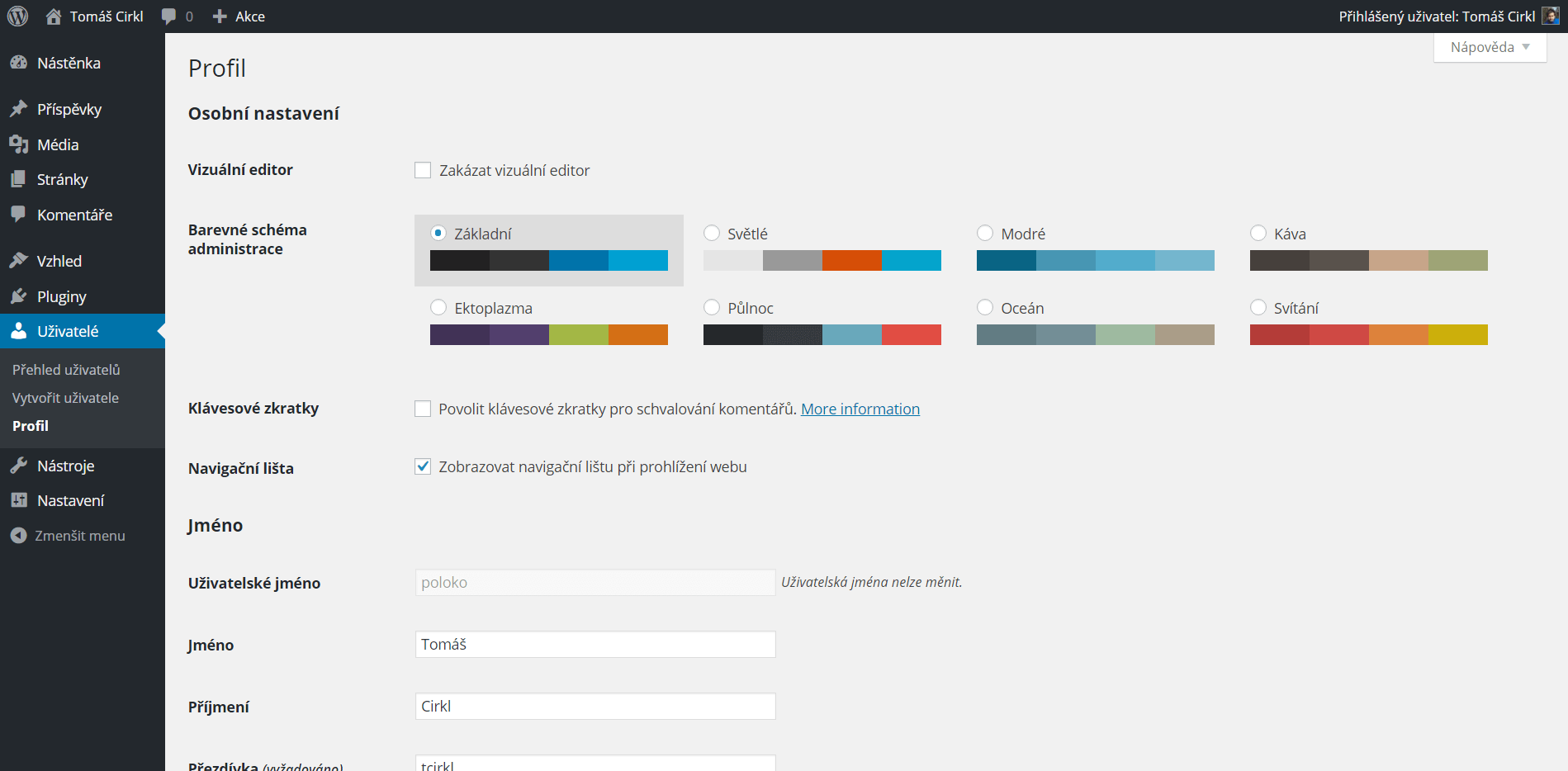 Nabídka barevných schémat