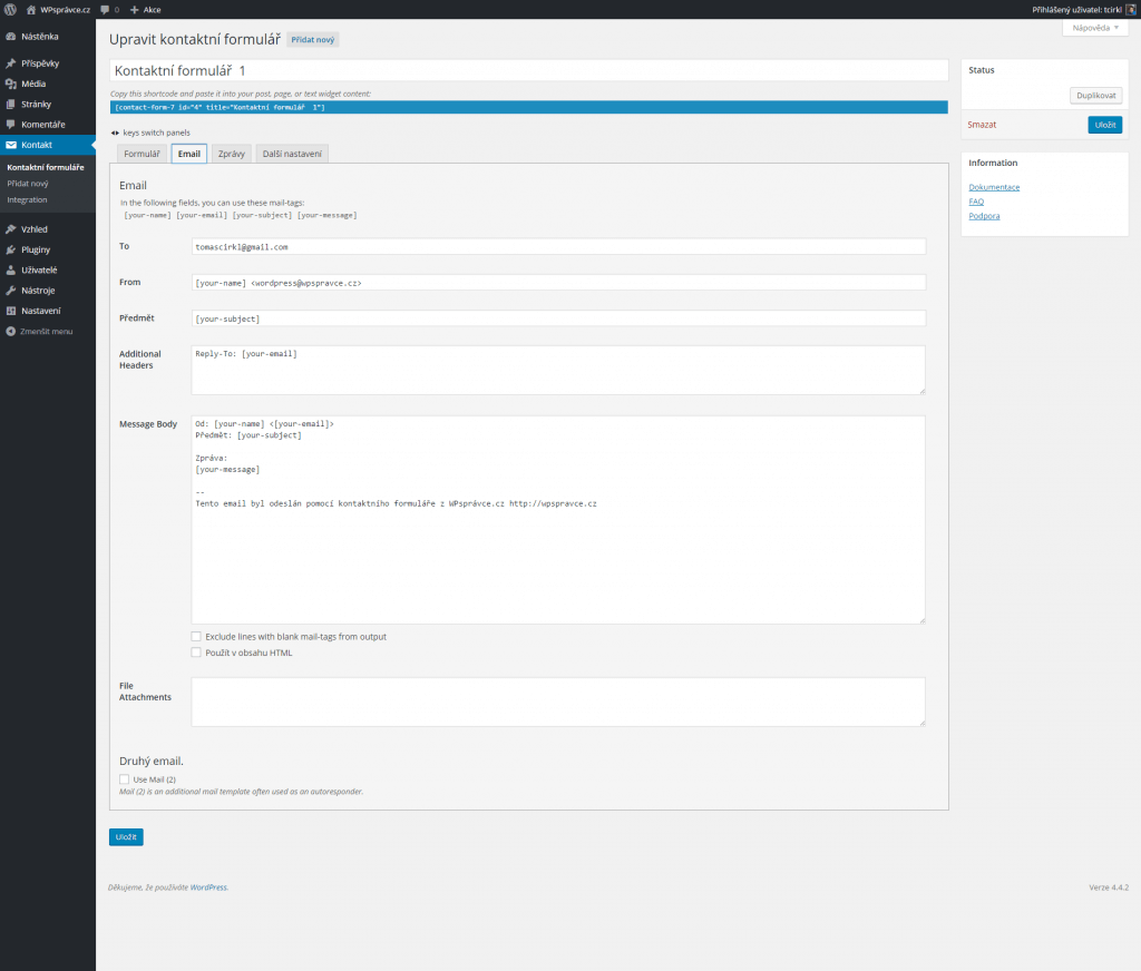 Email - kontaktní formulář