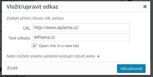 Tvorba odkazu WordPress