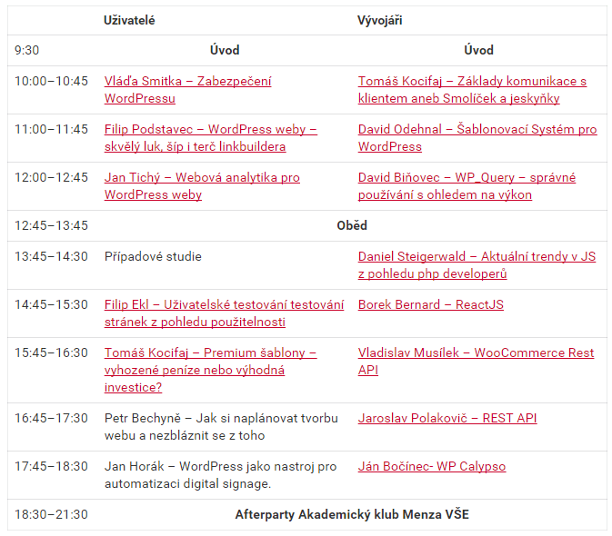 Wordcamp Prague 2016 program
