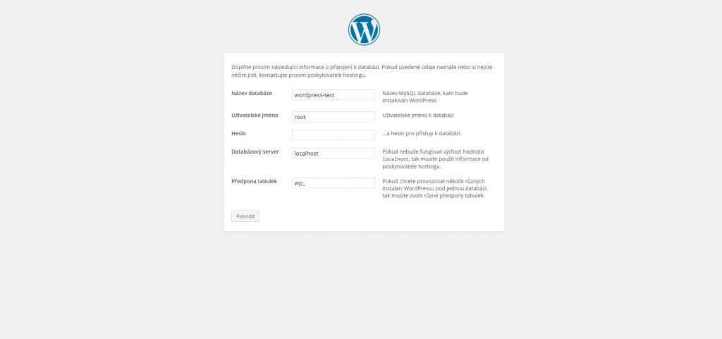 Informace o databázi WordPress na localhost