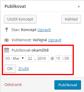 Nastavení času automatického publikovaní