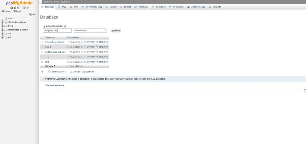 Tvorba databáze na localhost