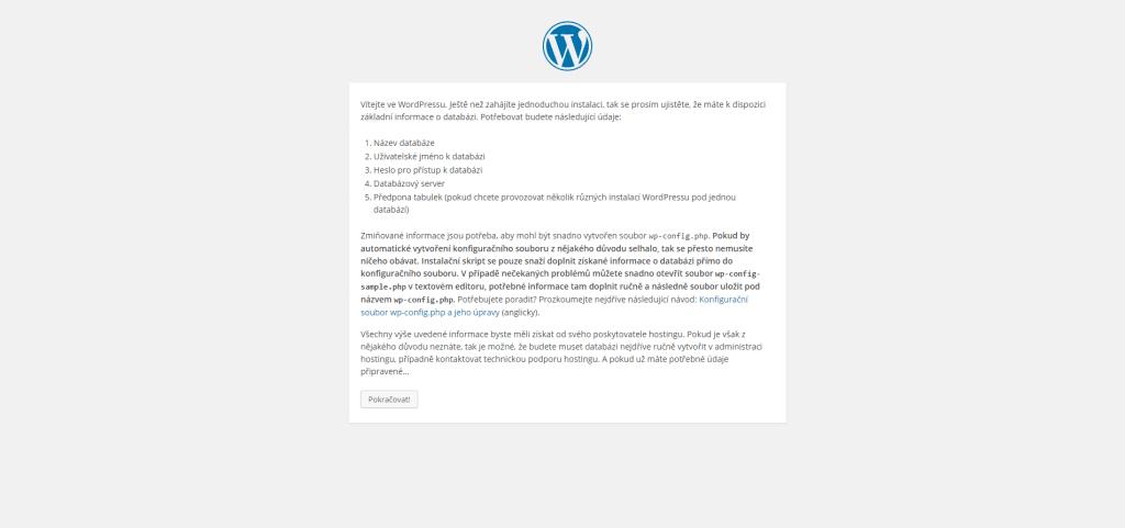 Tvorba konfiguračního souboru WordPress na localhost