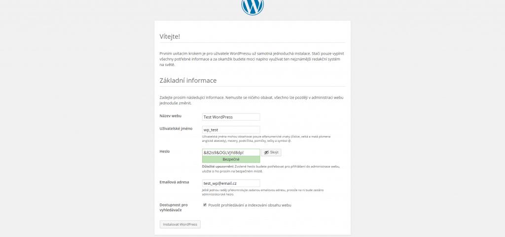 WordPress informace o webu