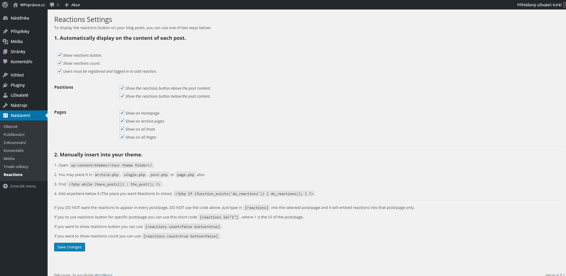 Nastavení pluginu DW Reactions