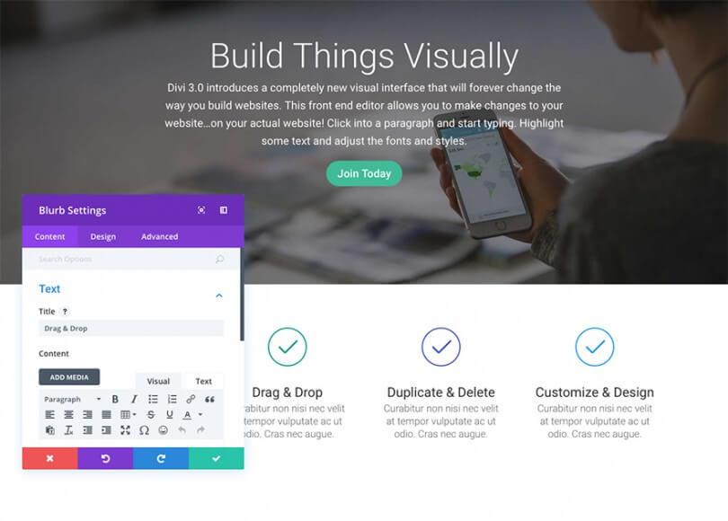Divi Visual Builder náhled