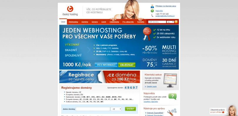Český hosting webhosting a registrace domény