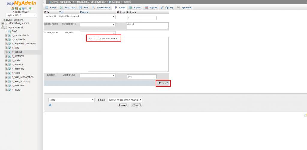 Oprava URL v databázi