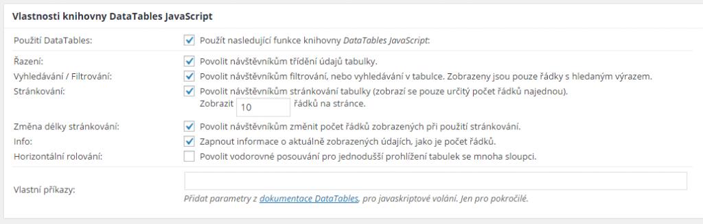 Vlastnosti knihovny DataTables