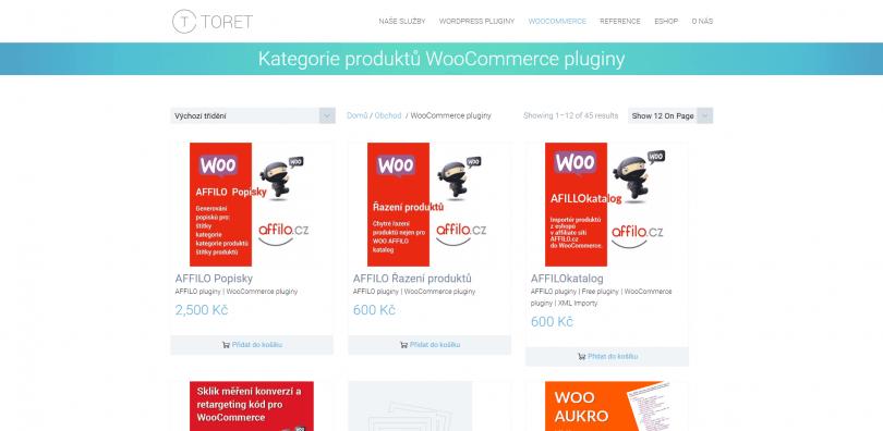 WooCommerce Toret.cz