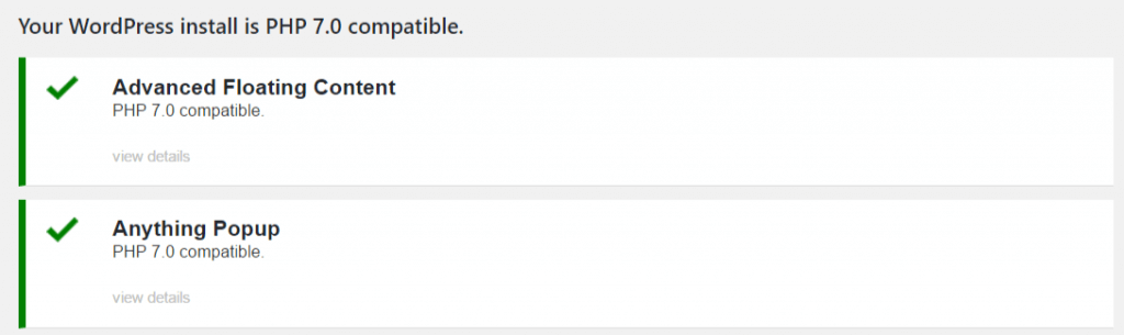 PHP kompatibility report