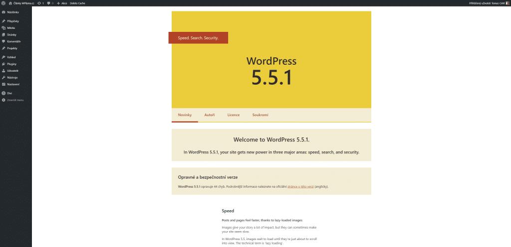 Sekce O WordPress