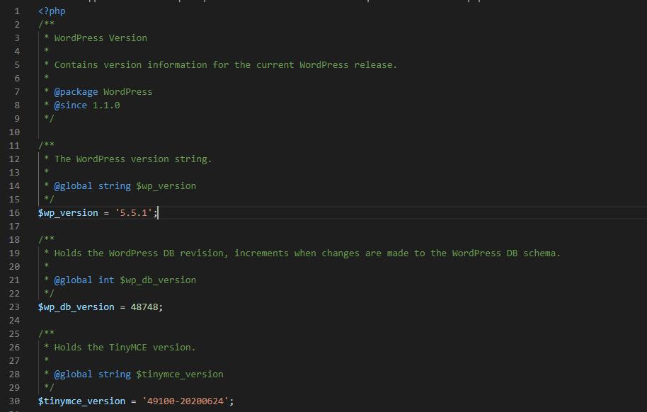 Verze WordPress v PHP souboru