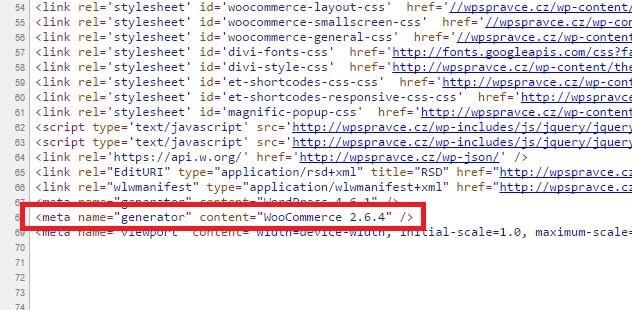 Verze WordPress ve zdrojovém kódu