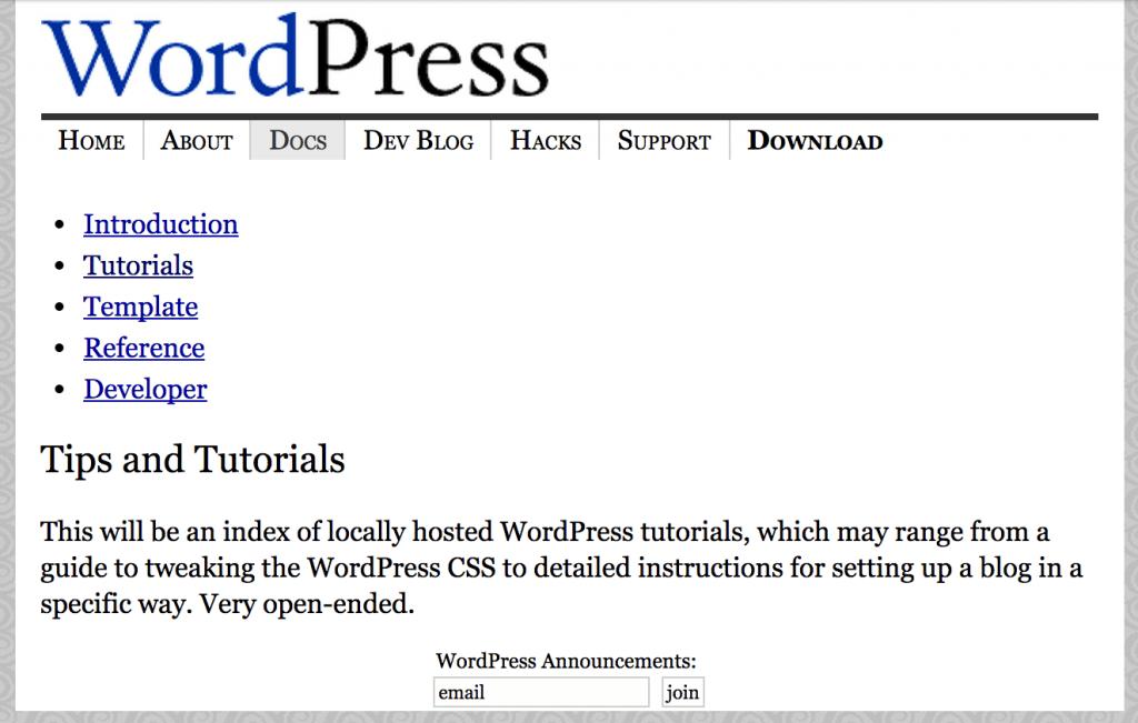 Stránka dokumentace na WordPress.org koncem roku 2003