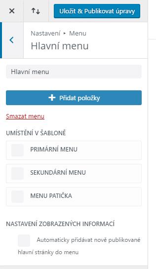 Nastavení menu