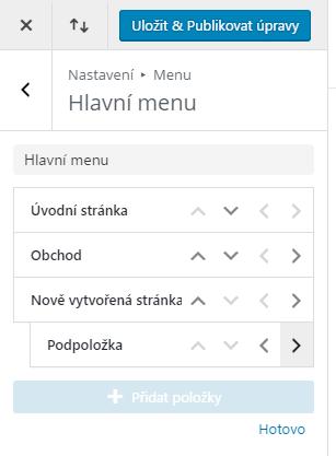 Úprava struktury menu