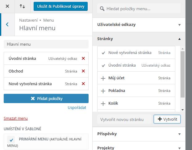 Vytváření menu ve WordPress