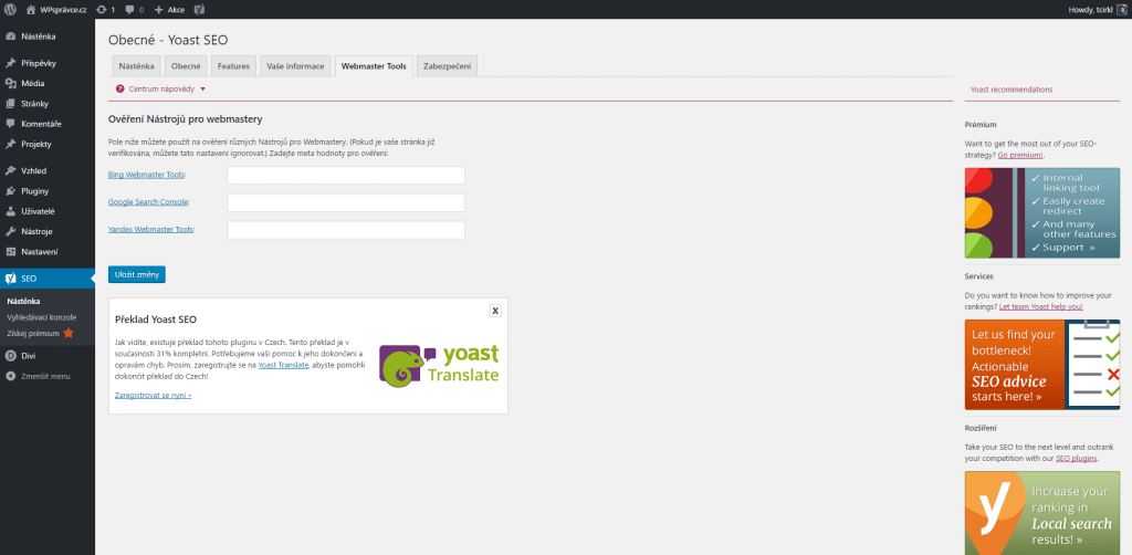Yoast SEO - Webmaster tools