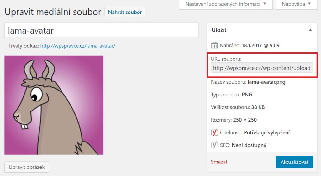 Zkopírování URL