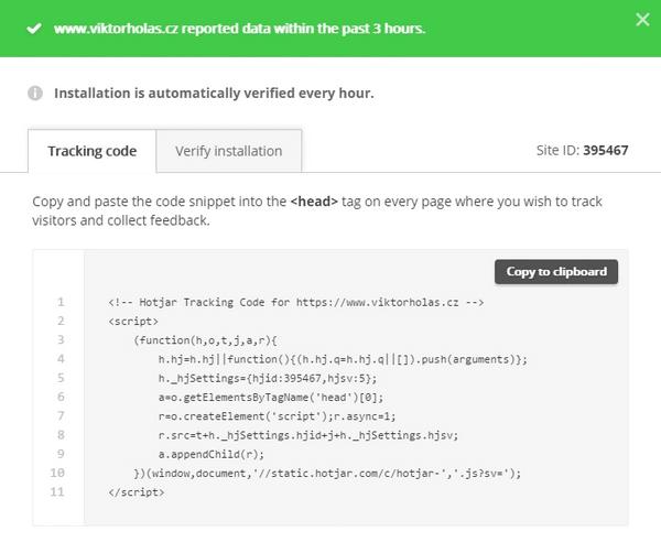 Krok 2 - kopírování sledovacího kódu hotjar.com