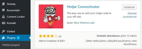 Krok 3 - instalace pluginu hotjar