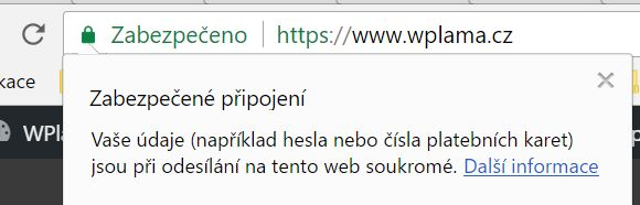 Zabezpečené připojení - Chrome