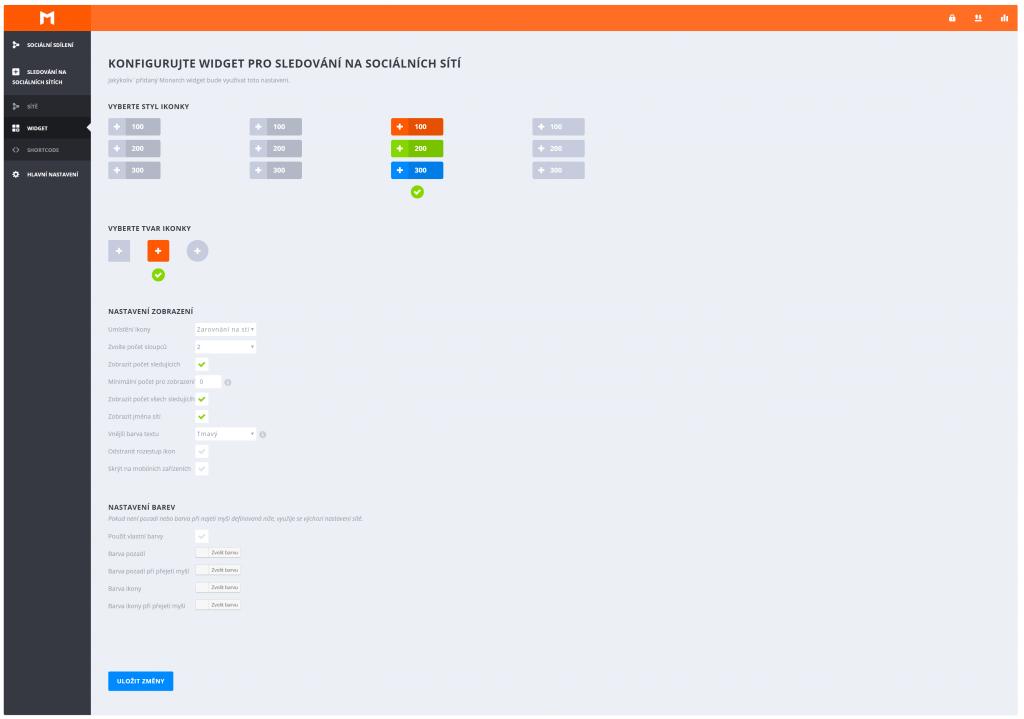 Zobrazení widget
