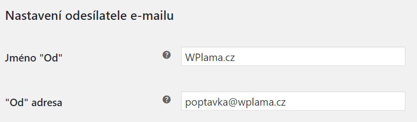 Nastavení odesílatele e-mailu