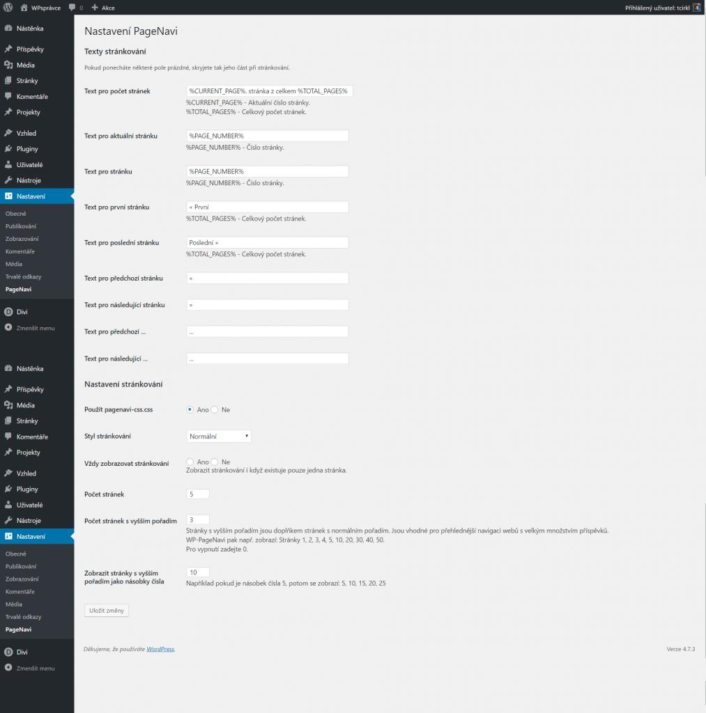 Nastavení WP-PageNavi
