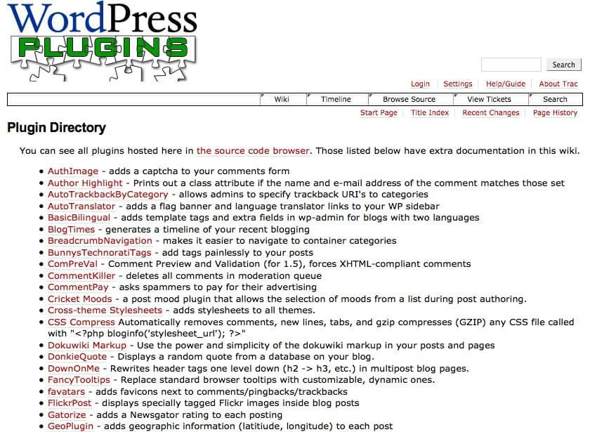 První verze adresáře WordPress pluginů z roku 2005