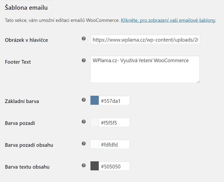 Šablona emailu