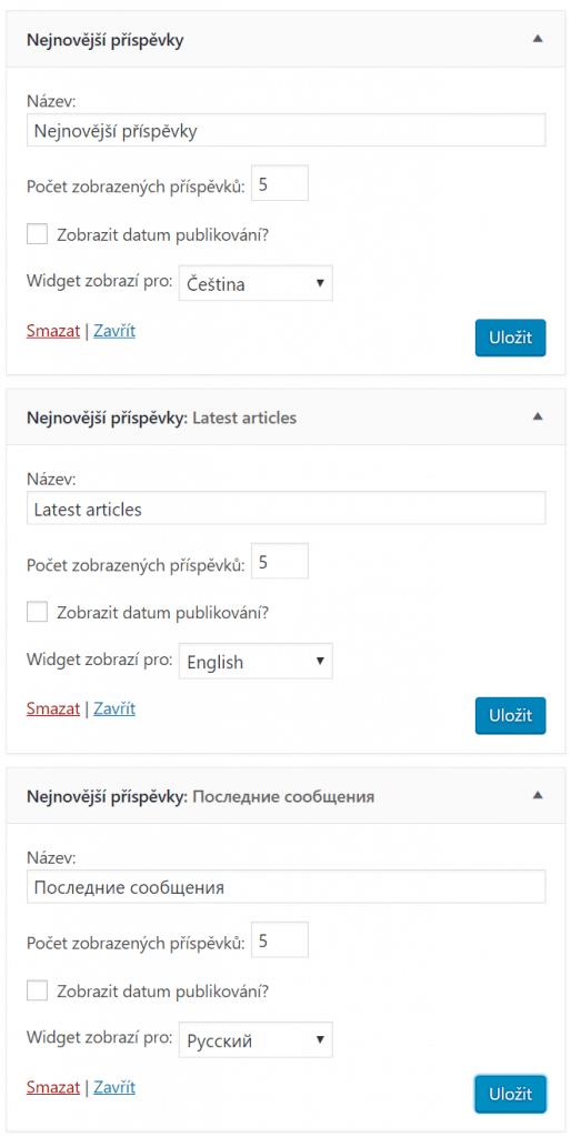 Specifické widgety pro daný jazyk